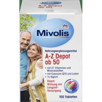 (39.98元/盒)新版Mivolis A-Z depot 50 岁以上,100 粒*6盒