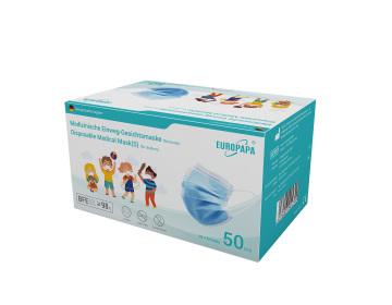Europapa Typ IIR Masken für Kinder -Blau 50ner